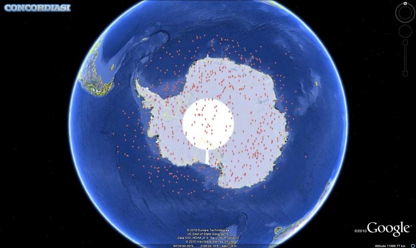 Ensemble des dropsondes larguées en Antarctique pendant la campagne Concordiasi 2010. Crédits : 2010 Google.